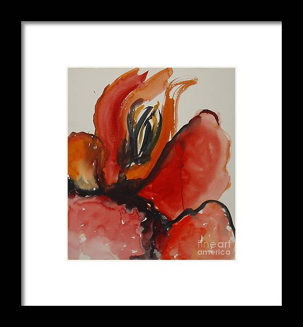 Abstract Red Leila Atkinson Original Artwork Framed Print featuring the painting Fiery by Leila Atkinson