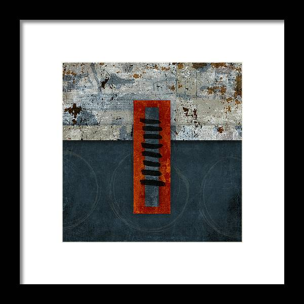 Red Framed Print featuring the photograph Fiery Red And Indigo One Of Two by Carol Leigh