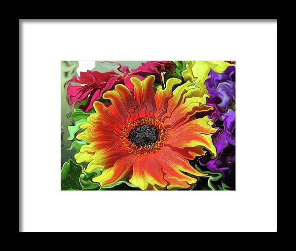 Abstract Framed Print featuring the photograph Floral Fiesta by Kathy Moll