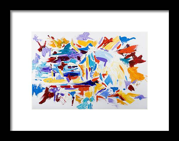 Abstract Yellow Framed Print featuring the painting Fiesta by Shannon Grissom