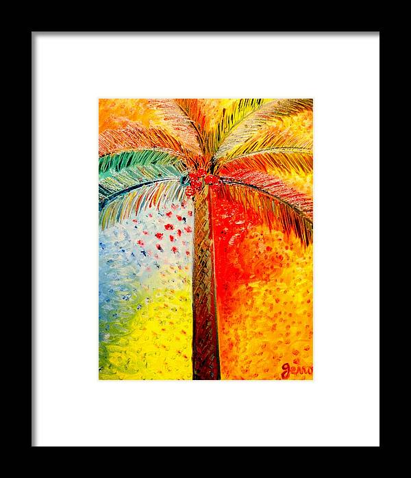 Palm Tree Art Framed Print featuring the painting Fig Palm Sunset by Helen Gerro