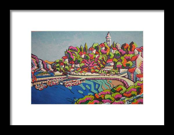 Landscape Framed Print featuring the painting Fig Tree by Nina Sestanovic