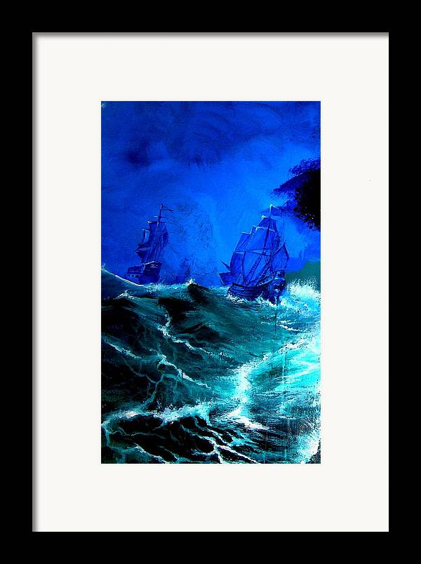 Seascape Framed Print featuring the painting Fight For Life by Glory Fraulein Wolfe