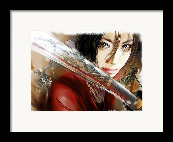 Japanese Digital Art Framed Print featuring the digital art Fights by GETABO Hagiwara