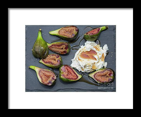 Cream Framed Print featuring the photograph Figs Dessert With Mascarpone by Patricia Hofmeester