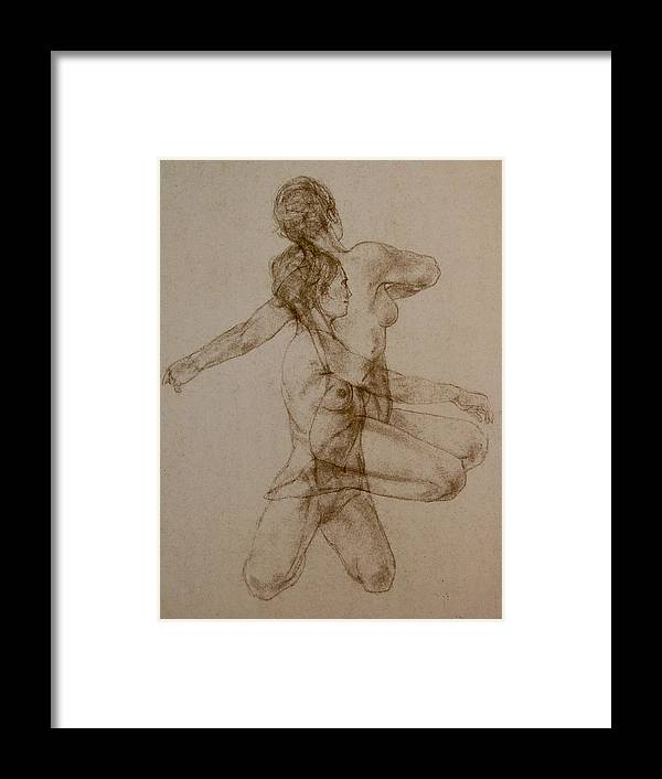 Female Framed Print featuring the painting Figurative Movement by Gary Kaemmer