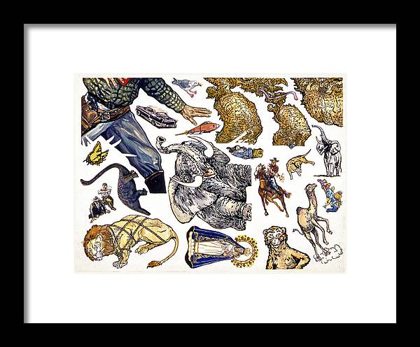 Karl Framed Print featuring the painting Figurative Sticker Sheet by Karl Frey