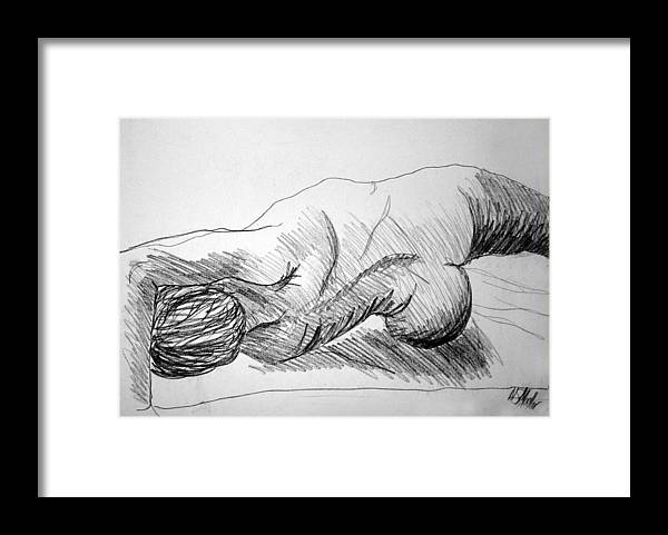 Figure Framed Print featuring the drawing Figure Drawing 2 by Nancy Mueller