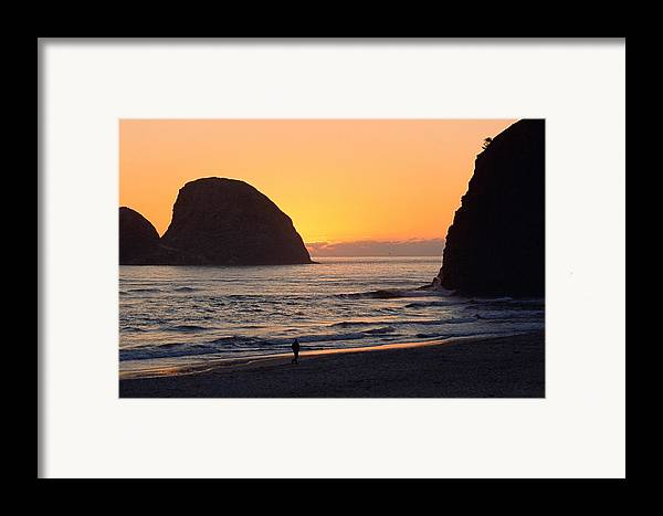 Landscape Framed Print featuring the photograph Figure On Seastack by Lynard Stroud