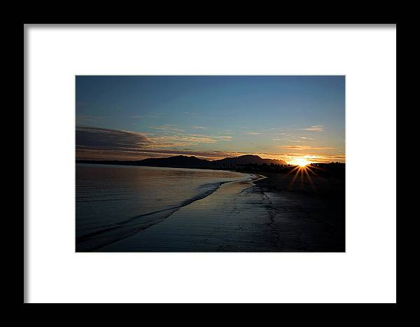 Framed Print featuring the pyrography Fiji Sunset by Heather Fiedler