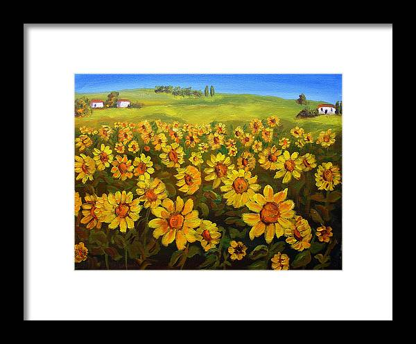 Landscape Framed Print featuring the painting Filed Of Sunflowers by Mary Jo Zorad