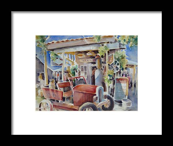 Old Gas Station Framed Print featuring the painting Fill 'er Up by Joan Jones
