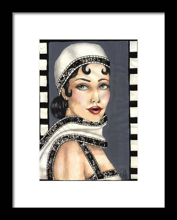 Portrait Framed Print featuring the drawing Film 2 by Scarlett Royal