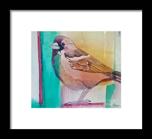Watercolor Framed Print featuring the painting Finch Fun by Tracey Lee Cassin