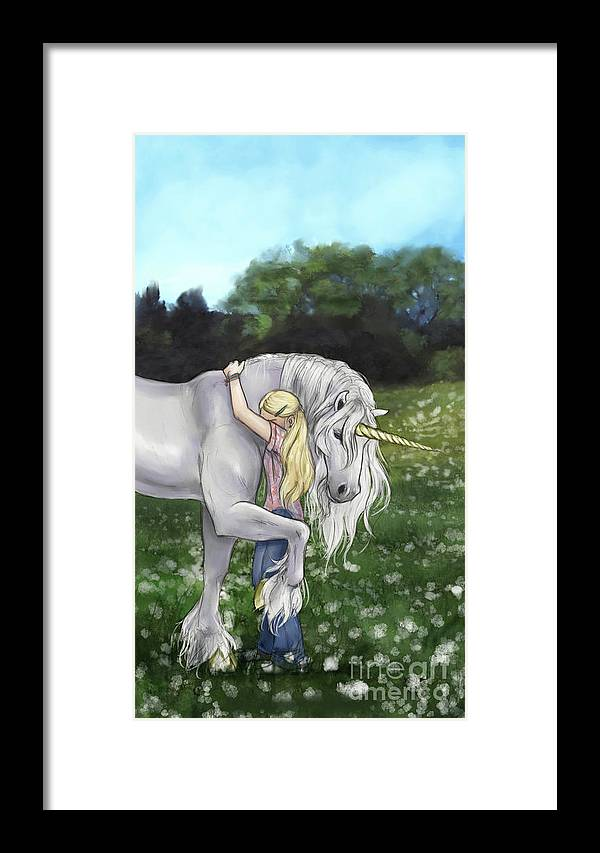 Girl Framed Print featuring the digital art Finding Innocence by Brandy Woods