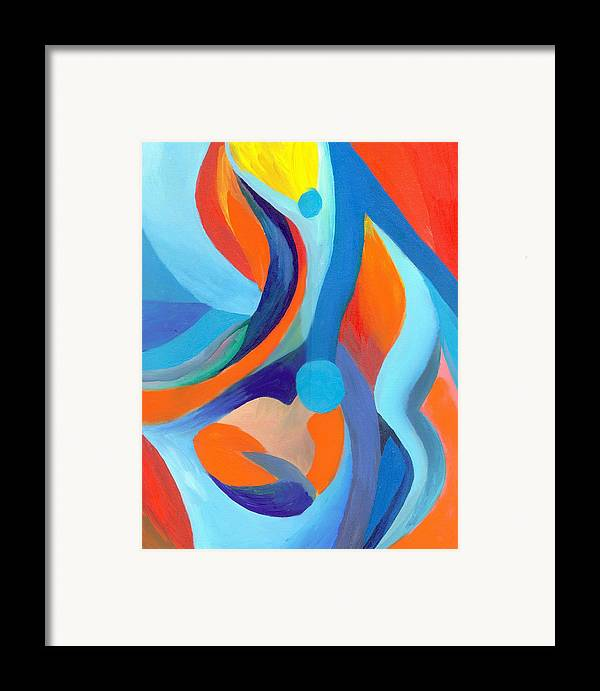 Abstract Framed Print featuring the painting Finding Joy by Peter Shor