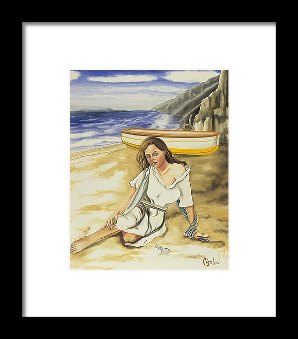Seascape Framed Print featuring the painting Finding The Note by Gloria Cigolini-DePietro