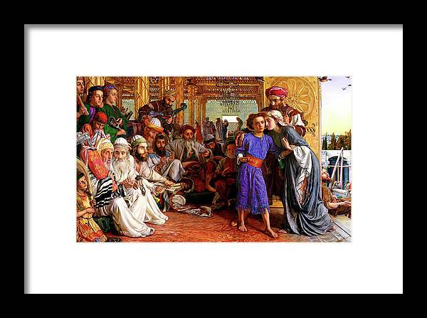 William Holman Hunt Print Framed Print featuring the painting Finding The Savior In The Temple by William Holman Hunt