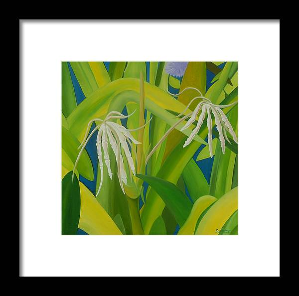 Floral Framed Print featuring the painting Finger Flowers by Sunhee Kim Jung