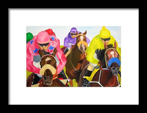 Horse Racing Framed Print featuring the painting Finish Line by Michael Lee