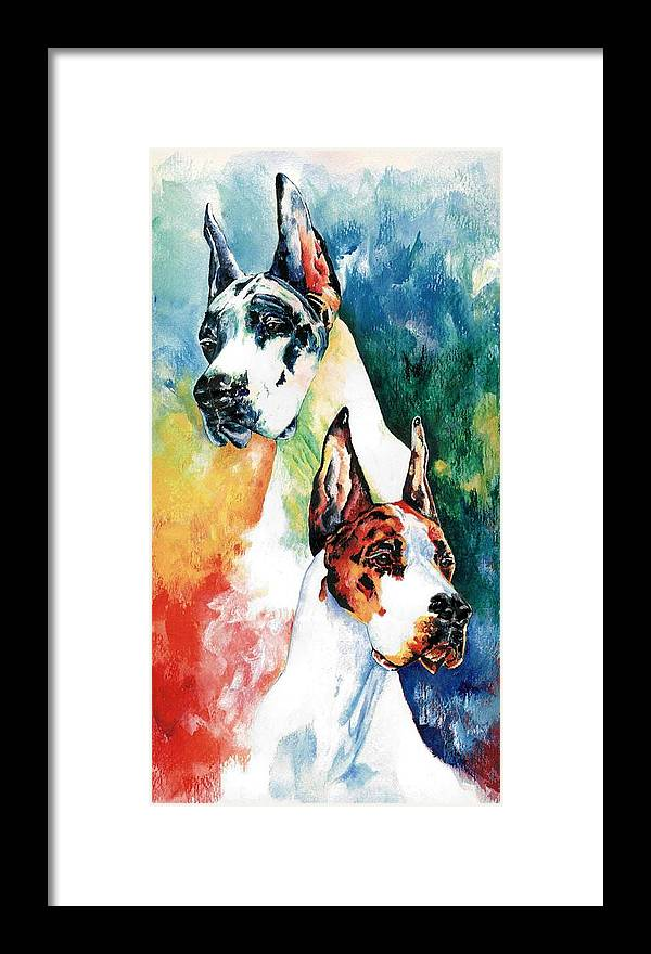 Great Dane Framed Print featuring the painting Fire And Ice by Kathleen Sepulveda