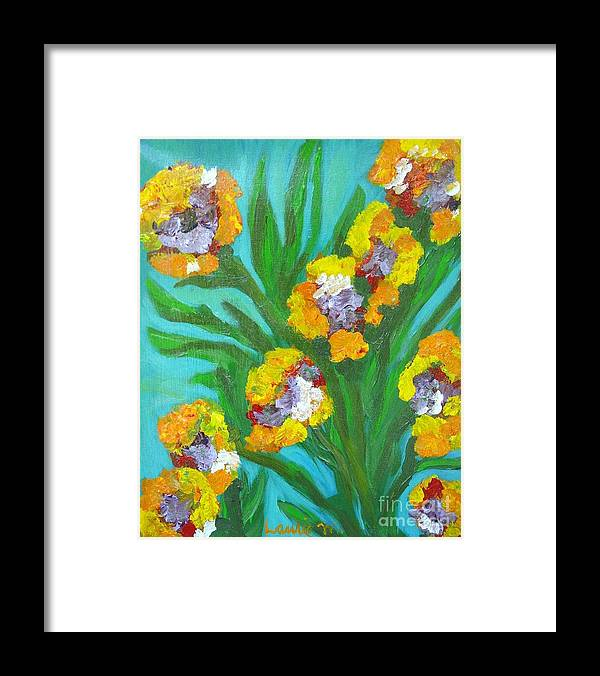 Flower Framed Print featuring the painting Fire Blossoms by Laurie Morgan
