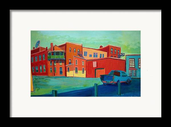 Cityscape Framed Print featuring the painting Fire Escapes In Burlington by Debra Bretton Robinson