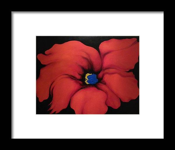 Red Bloom Artwork Framed Print featuring the painting Fire Flower by Jordana Sands