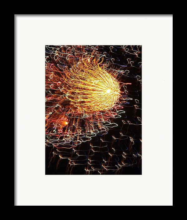 Fireworks Framed Print featuring the photograph Fire Flower by Karen Wiles