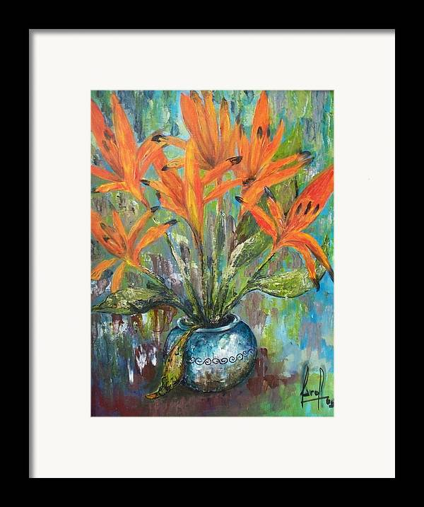 Framed Print featuring the painting Fire Flowers by Carol P Kingsley