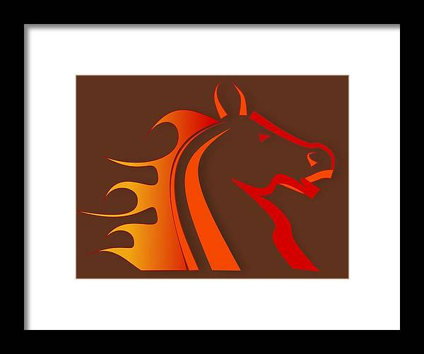 Horse Framed Print featuring the digital art Fire Horse by Scott Davis