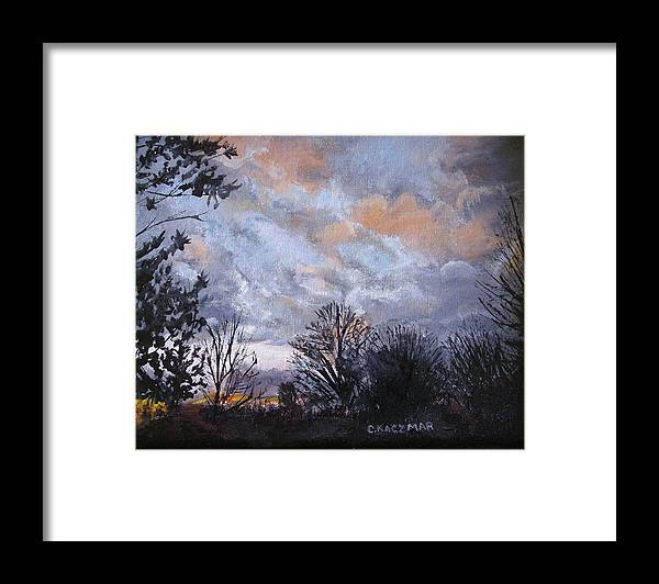 Landscape Framed Print featuring the painting Fire In The Canyon by Olga Kaczmar
