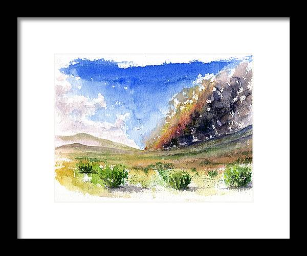 Fire Framed Print featuring the painting Fire in the Desert 1 by John D Benson