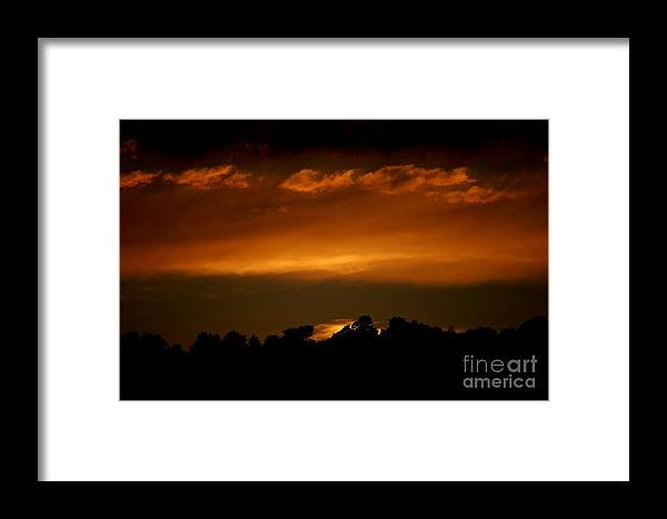 Digital Photo Framed Print featuring the photograph Fire In The Sky by David Lane