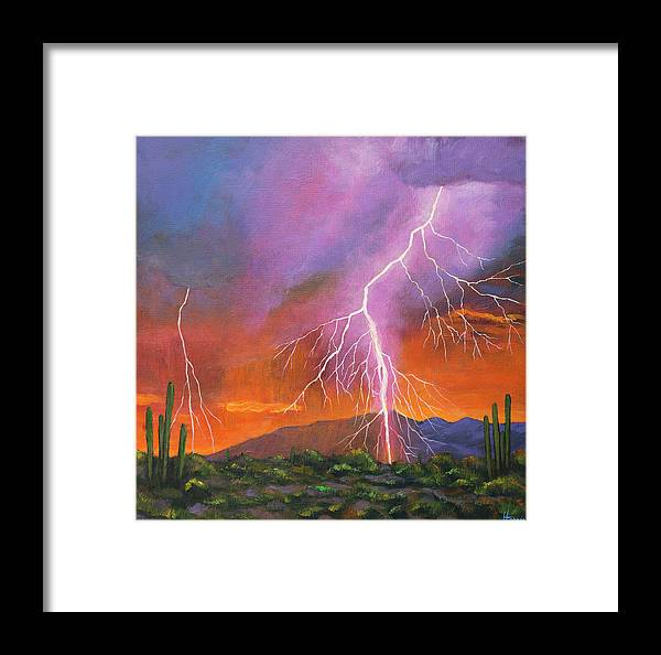 Arizona Framed Print featuring the painting Fire In The Sky by Johnathan Harris