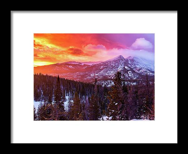 Longs Peak Framed Print featuring the photograph Fire In The Sky by Donald Poole