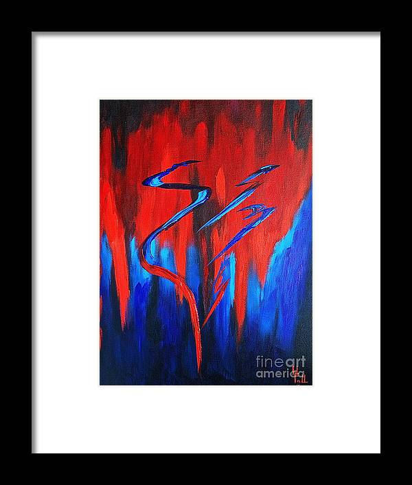 Abstract / Sexy Red And Blue By Herschel Fall Framed Print featuring the painting Fire Lake by Herschel Fall