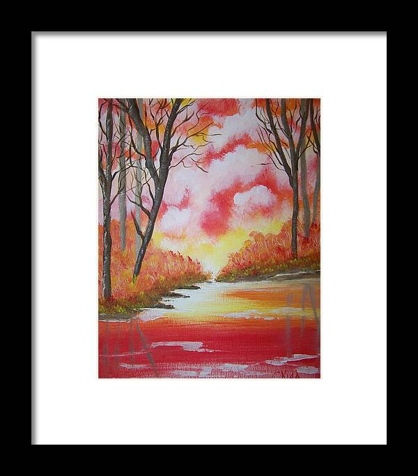 Lake Framed Print featuring the painting Fire Of God by Laurie Kidd