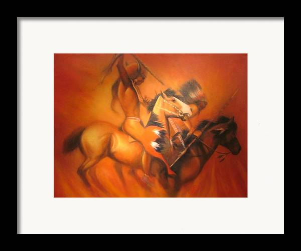 Native American Framed Print featuring the painting Fire Riders by Elizabeth Silk