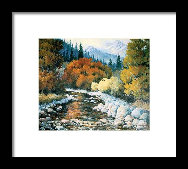 Trees Framed Print featuring the painting Fire River by JoAnne Corpany