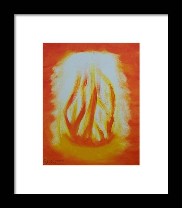Abstract Framed Print featuring the painting Fire by Rod Schneider