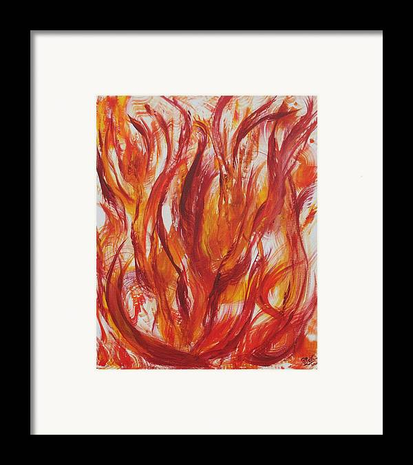 Fire Framed Print featuring the painting Fire by Sandra Winiasz