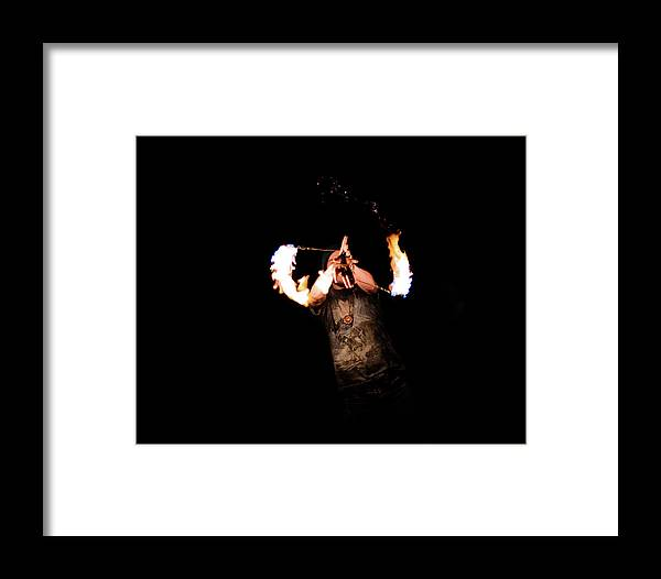 Fire Spinning Framed Print featuring the photograph Fire Spinning - 8 by Patrick Cinnamon Warren