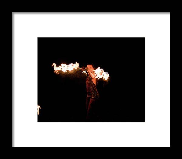 Faerie Fern Framed Print featuring the photograph Fire Spinning With Fern - 15 by Patrick Cinnamon Warren