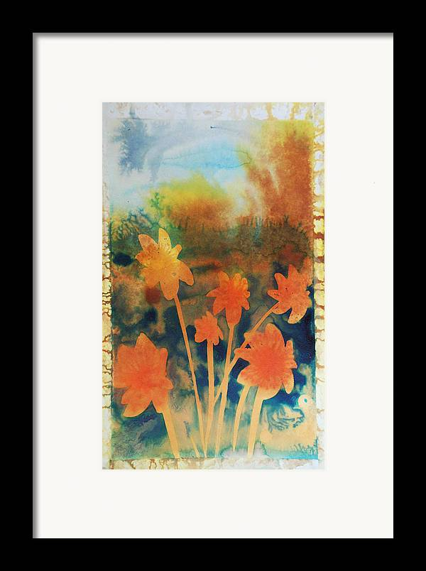 Flowers Bright Free Loose Blue Yellow Green Red Orange Framed Print featuring the painting Fire Storm In The Wild Flower Meadow by Amy Bernays