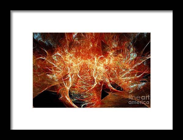 Fractal Framed Print featuring the digital art Fire Storm by Ron Bissett
