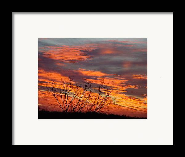 Red Framed Print featuring the photograph Fire Sunrise by Ana Villaronga