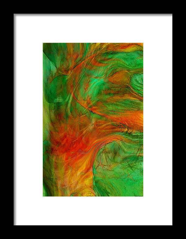 Abstract Art Framed Print featuring the digital art Fire Tree by Linda Sannuti