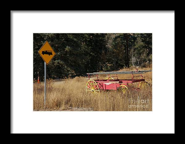 Fire Truck Framed Print featuring the photograph Fire Truck Crossing by David Pettit