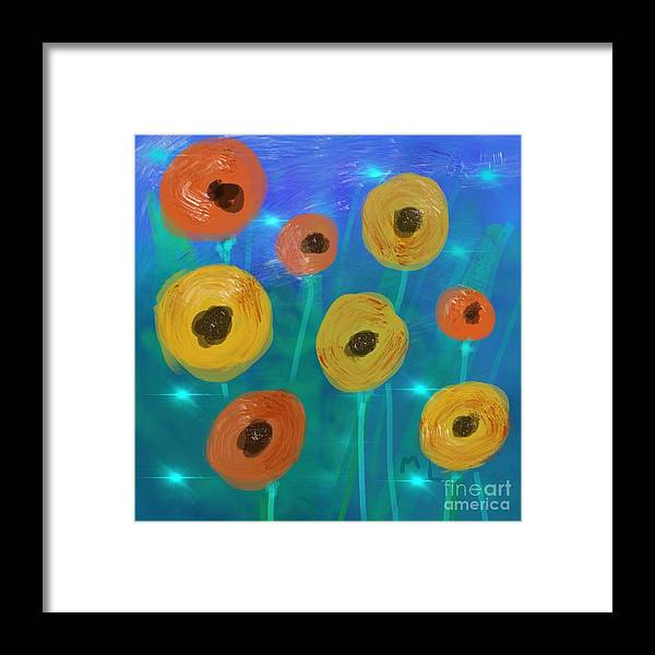 Lfireflies Framed Print featuring the painting Fireflies In The Garden by Marlena Leach
